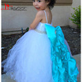 Little Kids Puffy White Flower Girls Dresses With Spaghetti Strap 2016 Tulle Ball Gown Big Blue Satin Bow Beaded Princess Dress