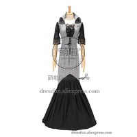 Victorian Edwardian Cotton Blend Tartan Dress Ball Gown Dress With Turn down Collar and Tassels around Sleeve Charming in Party