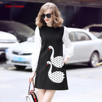 Fairy Dreams Cute Dress Women Swan White And Black Red Dresses 2018 New Style Hot Sale