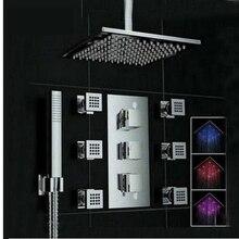 Uythner Потолка Mounte 3 Изменение Цвета Площадь Дождь Насадка для душа Термостатический Клапан Смесителя Вт/Гидромассажем Душ Опрыскиватель