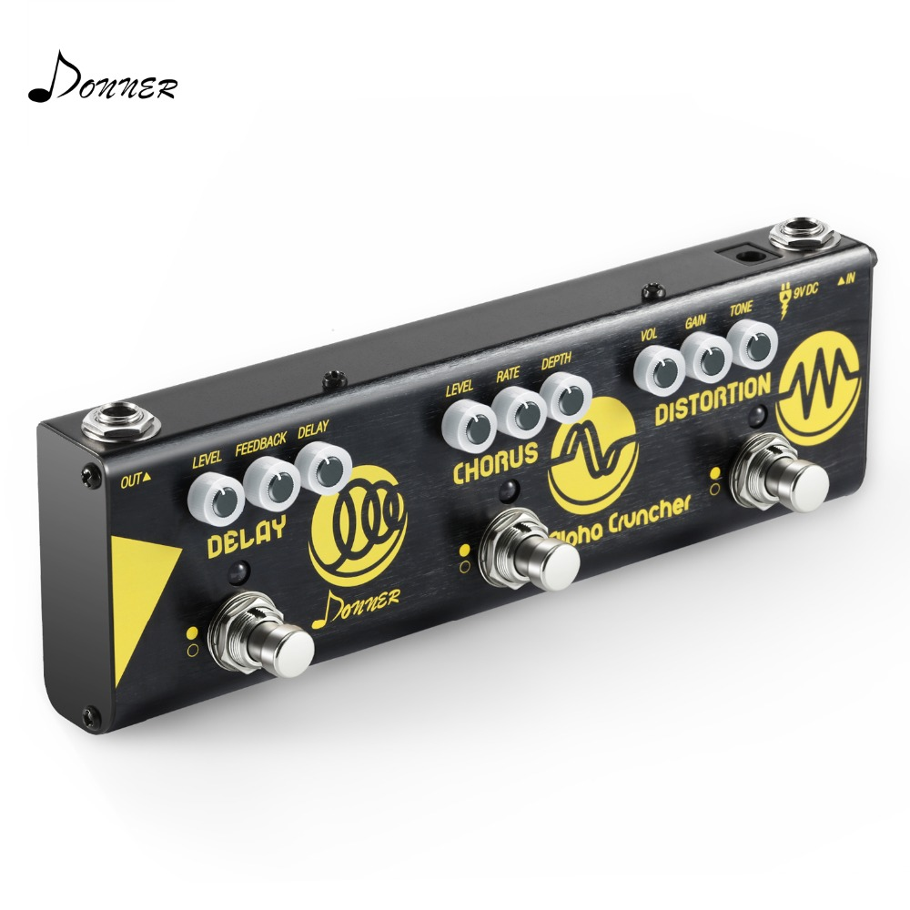 Donner Multi Effet Guitare Pédale Alpha Cruncher 3 Type Effets Retard Chorus Pédale de Distorsion avec Adaptateur