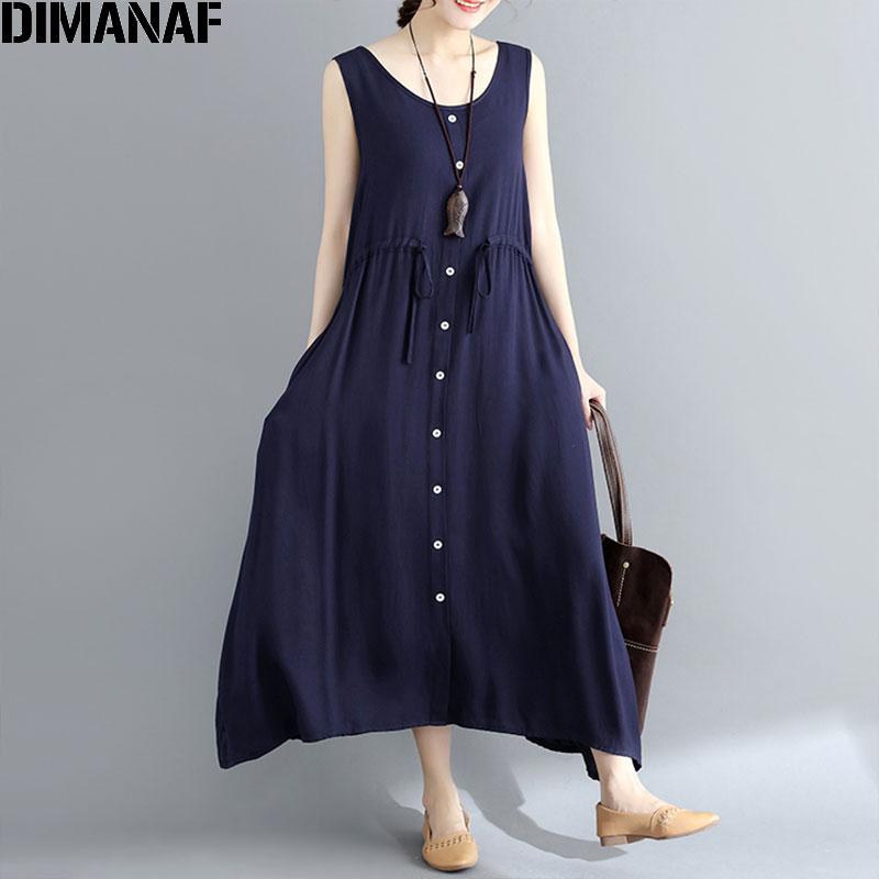 5a2dcdb7ac DIMANAF Women Summer Dress Plus Size Sleeveless Sundress Linen Female  Elegnat Lady Sashes Vestidos Casual 2018