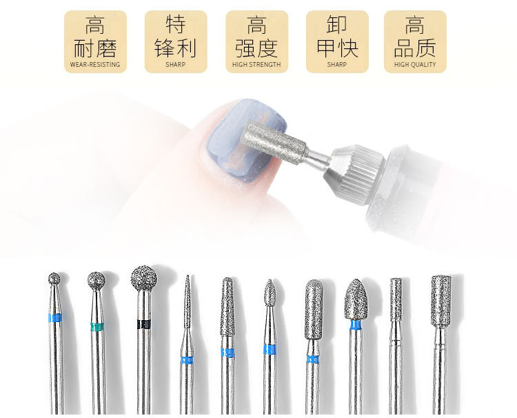 Image 5 - 10Pcs/box Nail Cone Tip Ceramic Drill Bits Electric Cuticle Clean Rotary For Manicure Pedicure Grinding Head Sander Tool-in Electric Manicure Drills from Beauty & Health