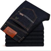Новинка 2019 года для мужчин черный и синий джинсы для женщин бизнес мода классический стиль эластичные узкие брюки
