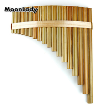 18 Pipes Pan Flute C Key Chinese Musical Instruments Original Color Brown Traditional Woodwind Instrument Handmade Pan Pipes