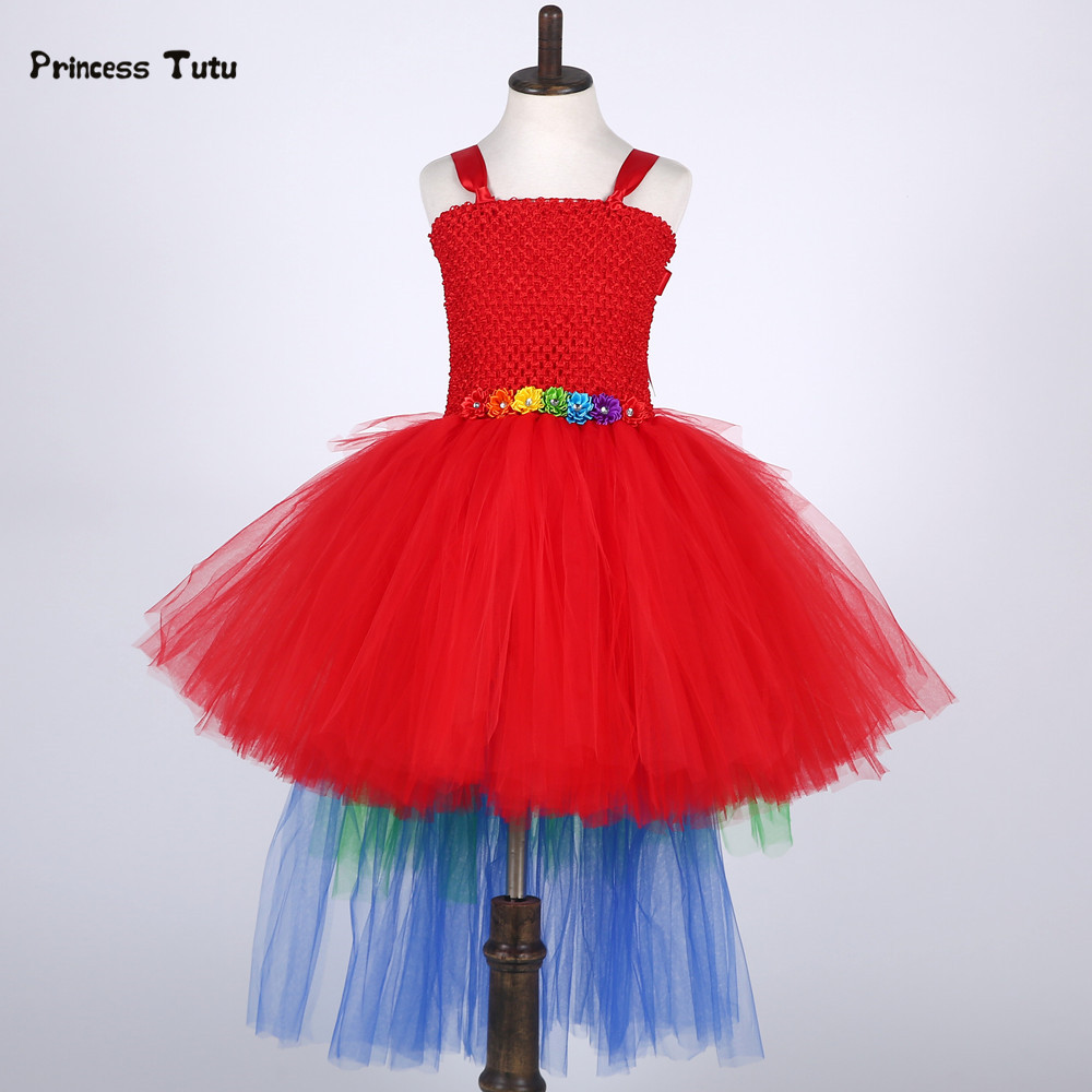 Rainbow Tail Flower Girl Tutu Dress Tulle Pageant Gowns Girls Red Macaw Parrot Halloween Costume Kids Girl Birthday Party Dress handmade girls tutu dress flower girl dresses halloween costume children kids tulle dress for pageant party prom photo vestidos