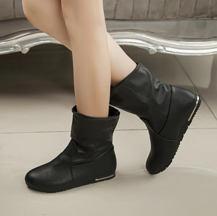 GTIME New 2016 Fashion Autumn Winter Flock Boots Women Scooter Solid Flat Boots#CXL99