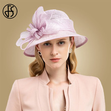 FS Pink Purple Ladies Sinamay Hat Big Flower Wide Brim Fedoras Elegant Women Church Hats Formal Kentucky Derby Fascinator Party