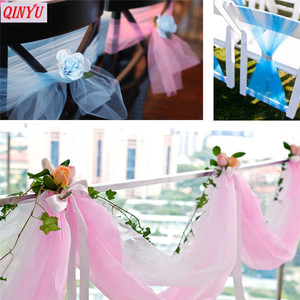 Image 2 - Creative 48CM*5M Multicolor Crystal Organza Tulle Yarn Roll Fabric Wedding Background Home Party Decoration Accessories 5z