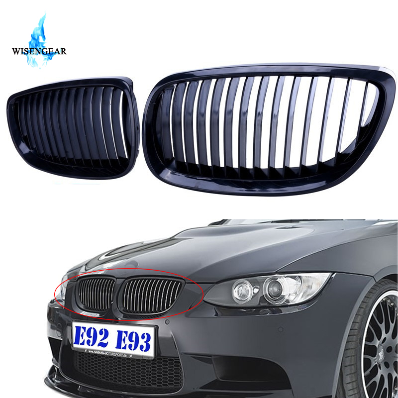 US $42 58 15% OFF|WISENGEAR Car Front Radiator Racing Grills Black Gloss  Grille Kidney For BMW E92 E93 M3 Coupe 2 Door 328i 335i 2007 2010 /-in  Racing