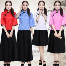 Ancient girls students clothing cotton suit cosplay costumes skirts set men or boys Chinese tunic