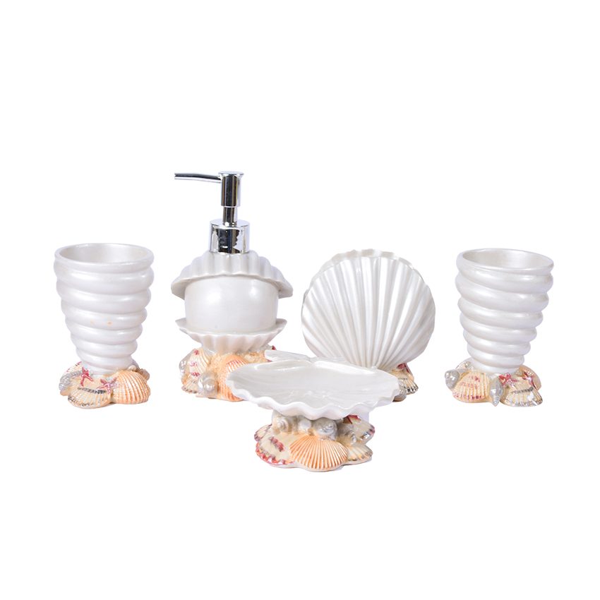 New Hot Five piece Set Resin Creative Shell Bathroom Sets Bath Accessories Wash Gargle Suit Bathroom Products Washing Set A041