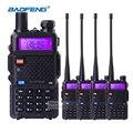 4 unids baofeng uv5r 5 w doble banda vhf uhf jamón cb radio portátil walkie talkies con auricular de radio comunicador transceptor de hf