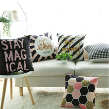 Nordic Geometric print pillowcase Car cushion ins wind plush office sofa bedroom cute pillow Home decoration 45x45cm