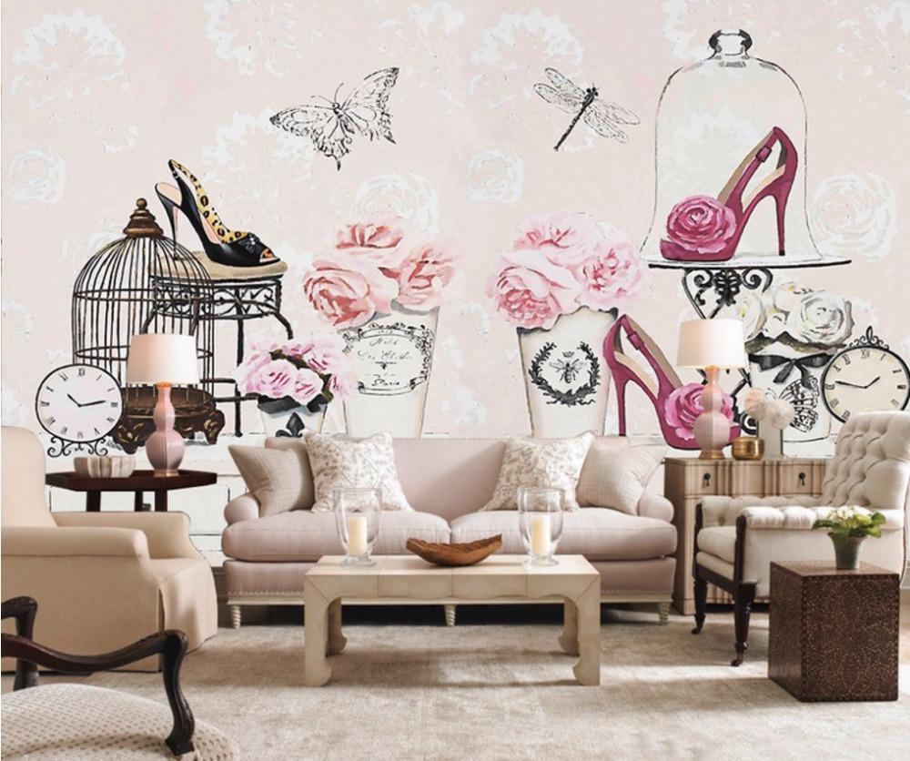 wallpaper 15d Makeup table flower high heels wallpaper Living room