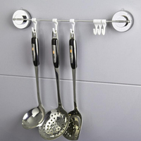 Stainless Steel Vacuum Suction Cup Sucker Hanger 6 Hooks Bathroom Wall Mounted Towel Holder Kitchen Tools