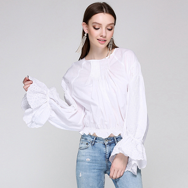 1475ca08487329 Runway White Blouse Women Embroidery Long Flare Sleeves Elastic Waist O  Neck Solid Vintage Design New Fashion Style 2017