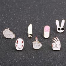 Новинка 2017 года Capsule Дубай кролик средний палец снижается эмаль брошь Креативный дизайн пальто воротник Брошь контакты