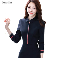 f13ce1afe6352d Lenshin Women Cover Button Striped Shirt Business Style Career Office Lady  Black Blouse Long Sleeve Top