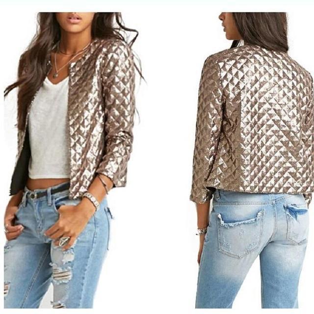 9432fa43997 New Spring Style Vogue Fashion Lozenge Short Jacket Women Gold Sequins  Jackets Three quater sleeve Fashion