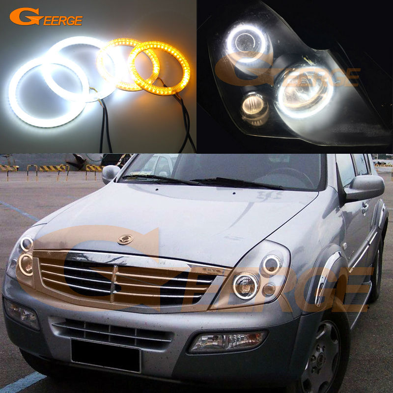 For Ssangyong Rexton 2003 2004 2005 Excellent Ultra bright Dual Color Switchback smd LED Angel Eyes Halo Rings kit ssangyong rexton с пробегом