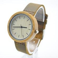 2016 Горячая Уникальный Vogue Женщин Бамбук Деревянные Часы Кварцевые Открытый Спортивные Часы Часы С Кожаный Ремешок Montre Femme
