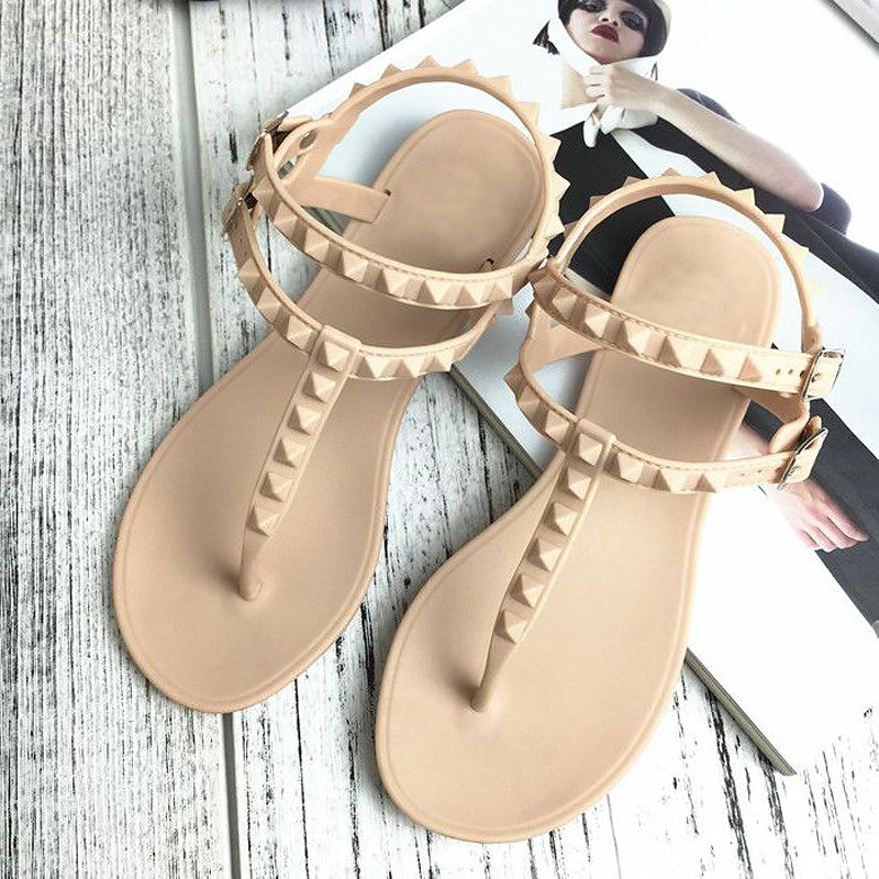 Lotus Jolly 2017 Flat Heel Rivet Sandals Ladies Summer Beach Shoes Women High Heels Gladiator Sandles Zapatos Mujer Sandalias 2017 summer new rivet wedges sandals creepers women high heel platform casual shoes silver women gladiator sandals zapatos mujer