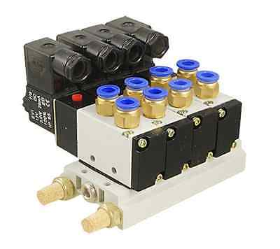 цена DC 12V Single Head 2 Position 5 Way 4 Pneumatic Solenoid Valve with Base