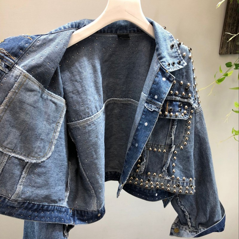 Revers Pour Unique Effiloché Harajuku Court Nouveau Jeans 2019 Veste Gland Poitrine Blue Diamants Femmes Denim Femme Manteau Rivet ARxvw6