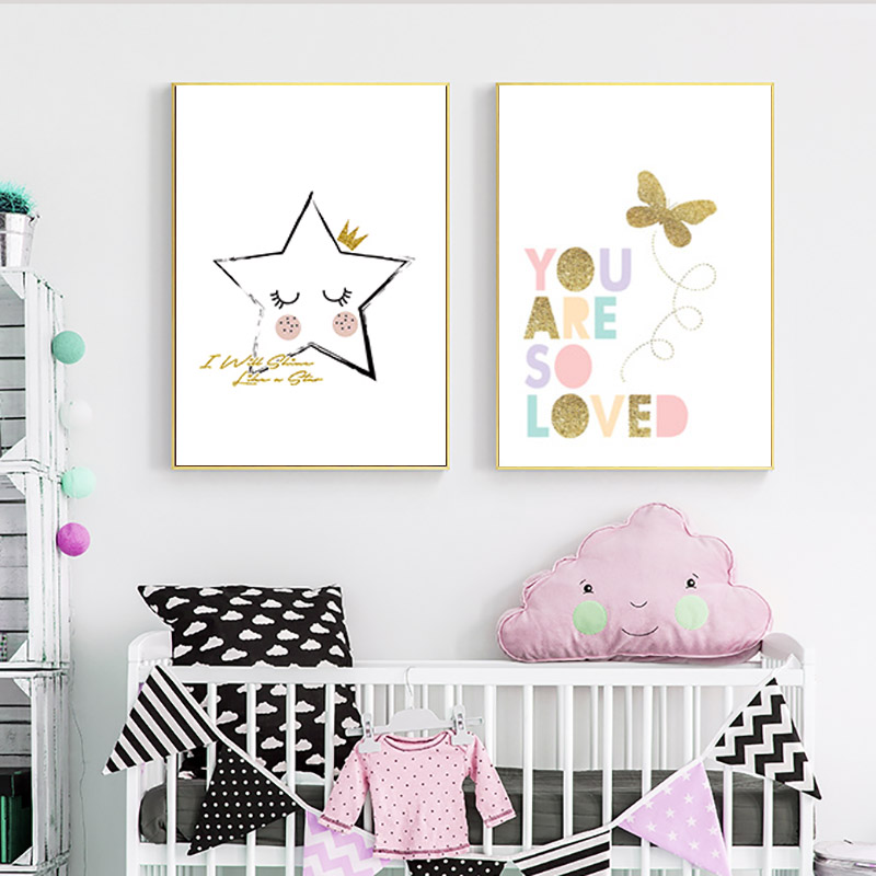 Nordic Style Kids Decoration Gold Butterfly Cartoon Stars ...