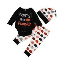 3PCS Set Halloween Baby Clothing Newborn Baby Boy Girls Top Romper Pumpkin Long Pants Hat Outfits