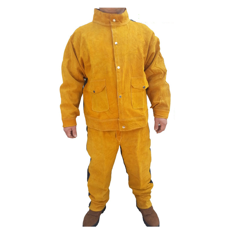 Cow Leather Safety Welding Clothing 1 Set Sodering Jersey&Long Pants Protective Soldering Custome for Men&Welders GM1013 new safurance welders dual leather