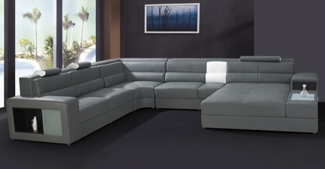 Modern furniture sofa set leather sectional sofa home - Sofas piel moderno ...