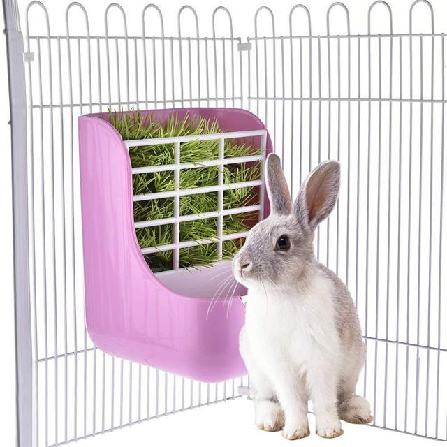 SaiDeng Two-in-one Pet Food Feeder/Grass Rack Fixed Feeding Bowl for Hamster Rabbit Small Animal Supplies-30 5