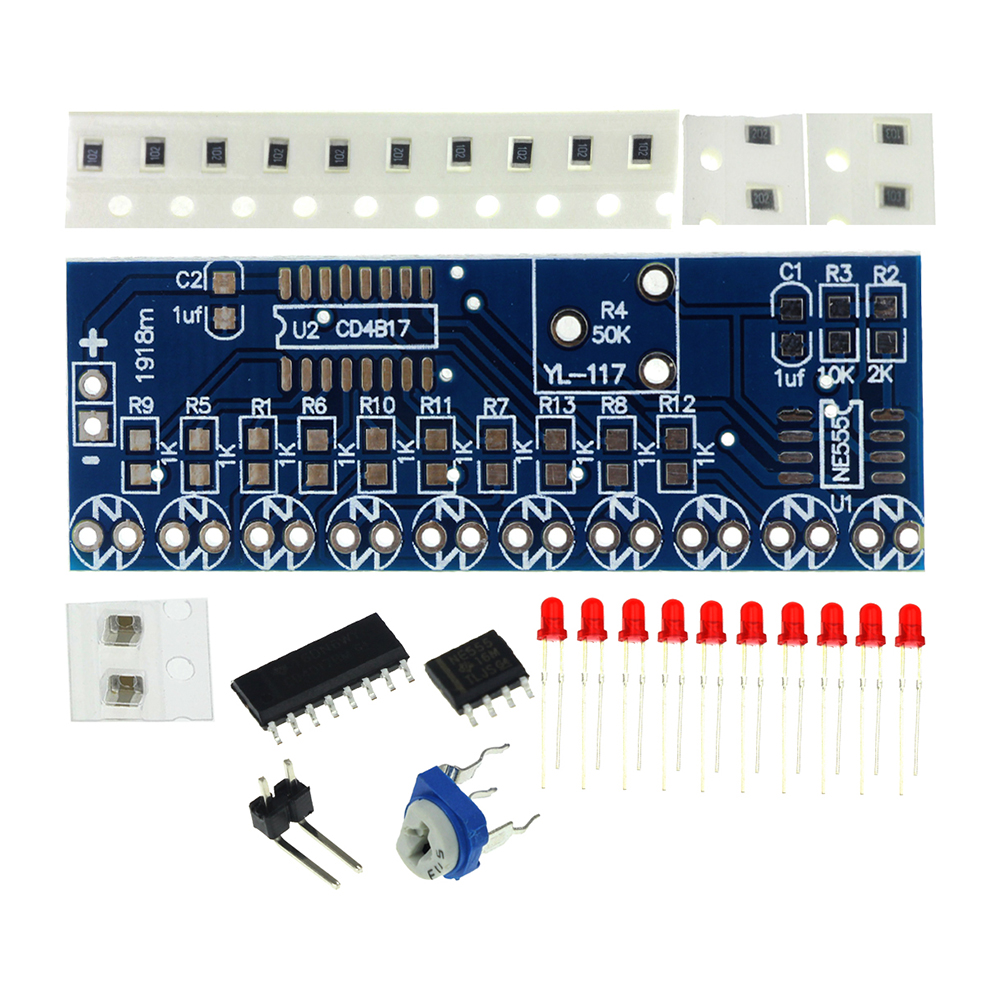 Ne555 Cd4017 Light Water Flowing Light Led Module Diy Electronic Marquee Light Diy Kit White Running Flow Led Electronic Diy Kit Electronic Components & Supplies Integrated Circuits