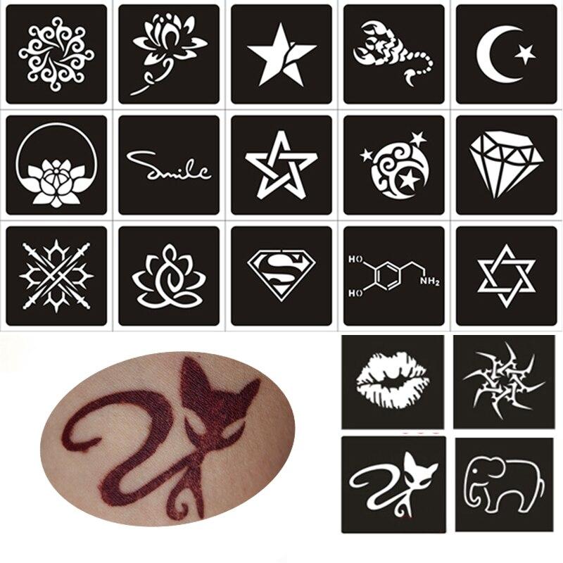 Buy 50pcs small glitter tattoo stencil for Spray on tattoo stencils