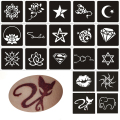 50pcs Small Glitter Tattoo Stencil Woman Female Kids Cute Drawing Templates,Cat Flower Letter Airbrush Henna Tattoo Stencils