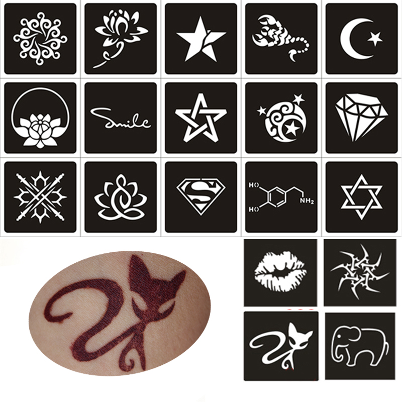 50pcs small glitter tattoo stencil woman female kids cute drawing templatescat flower letter airbrush henna tattoo stencils - Kids Drawing Stencils