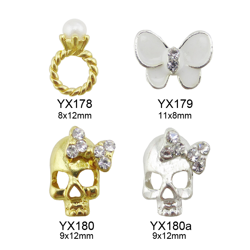 10pcs glitters snowflakes nail rhinestones nail art unas rings studs 3d nail charms butterfly Jewelry nails supplies Y436-Y443 10pcs gold 3d rudder metal flower pearl music note mixed rhinestones cross nail art decoration jewelry nails supplies y180 187