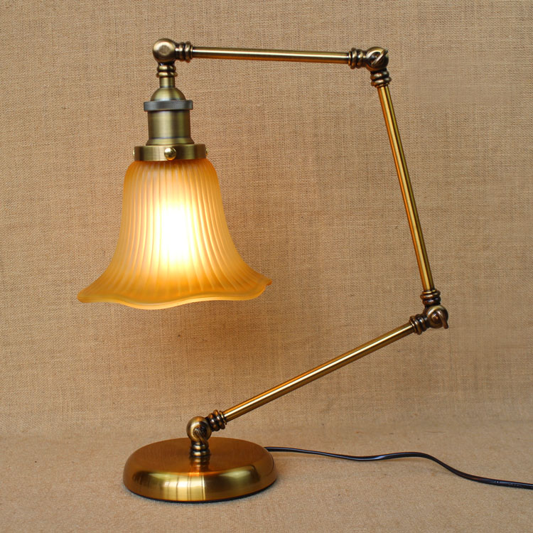 Adjustable Iron Glass Decorations Table Lamp Light Home