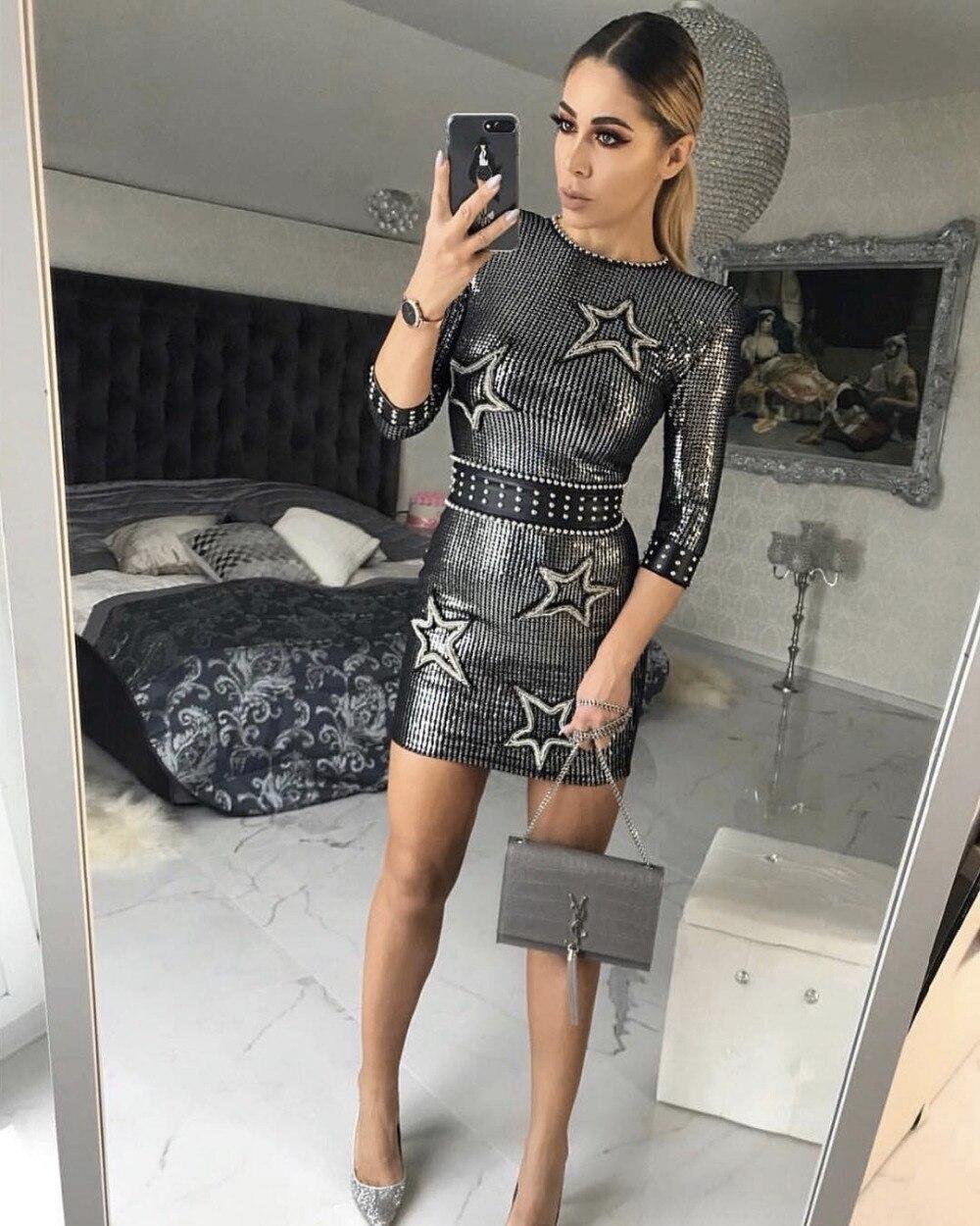 2019 nouvelle mode arrivée o-cou paillettes conception à cinq branches étoile ornement à manches moyennes Sequin en gros Mini robe de soirée de luxe