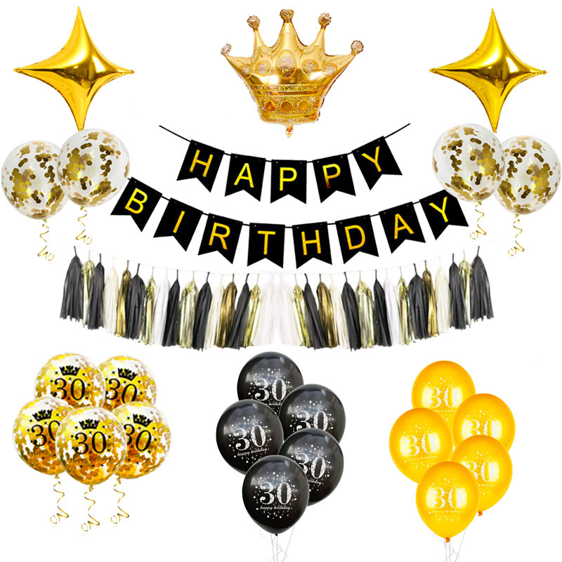 30 40 50 60 Years <font><b>Birthday</b></font> Balloon 30th <font><b>Birthday</b></font> <font><b>Party</b></font> Decorations Baloon Gold Black <font><b>50th</b></font> <font><b>Birthday</b></font> Adult <font><b>Party</b></font> Decor Air Globos image