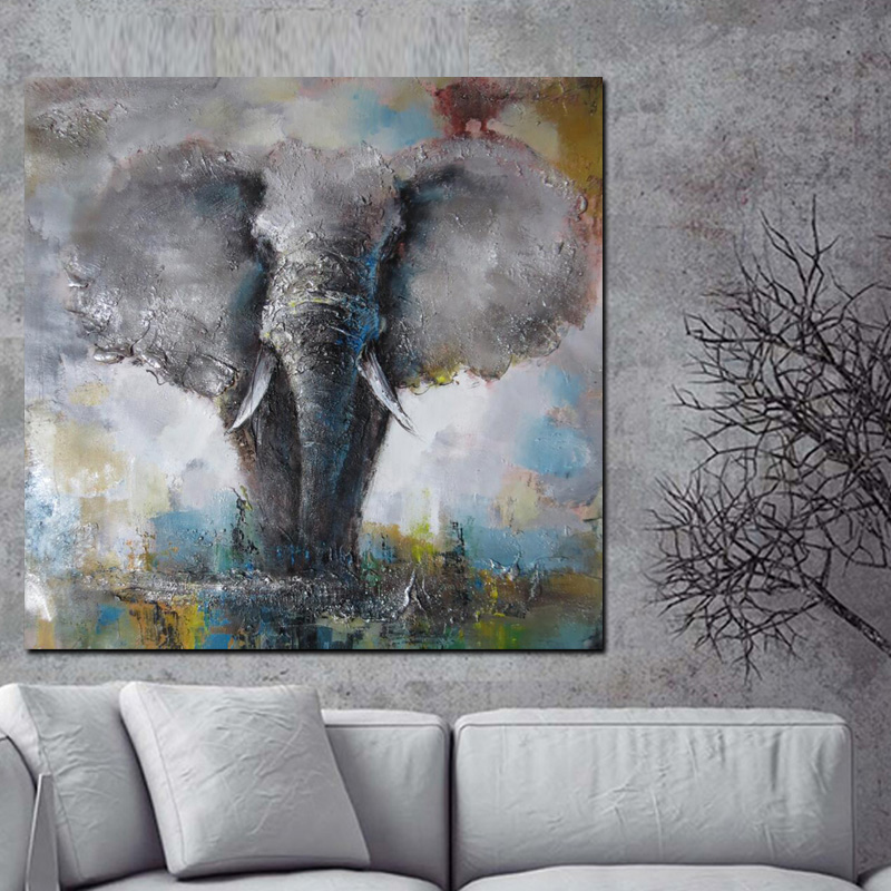 Big Size Wall Art Canvas African Elephant Print Abstract Animal Oil Painting on Canvas Poster Modern Wall PictureFor Living Room