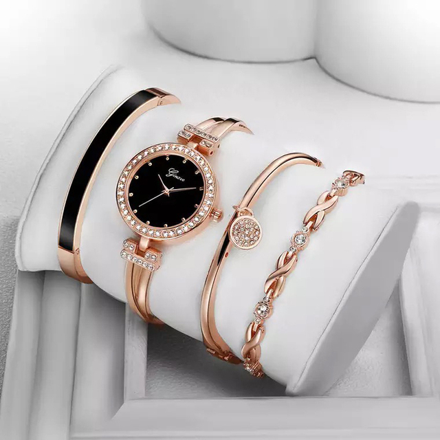 Ginave Watch Women Rose Gold Diamond Bracelet Watch Luxury Jewelry Ladies Female