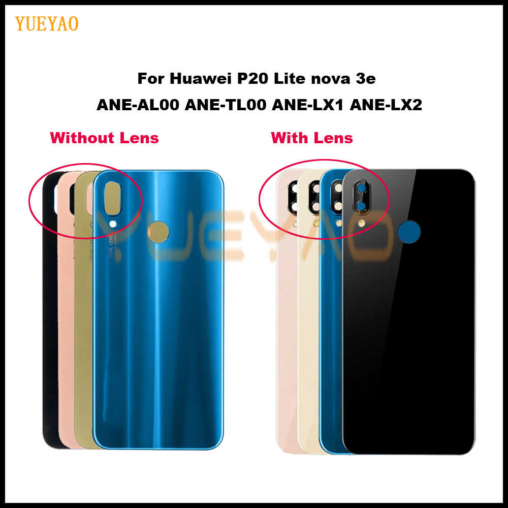 P20 Lite Back Glass Battery Cover Rear Door Back Housing Case For Huawei P20 lite housing Back Battery Glass Cover+Camera Lens