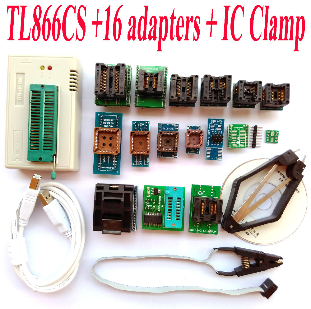 TL866CS programmer 16 adapters font b IC b font CLAMP High speed TL866 AVR PIC Bios
