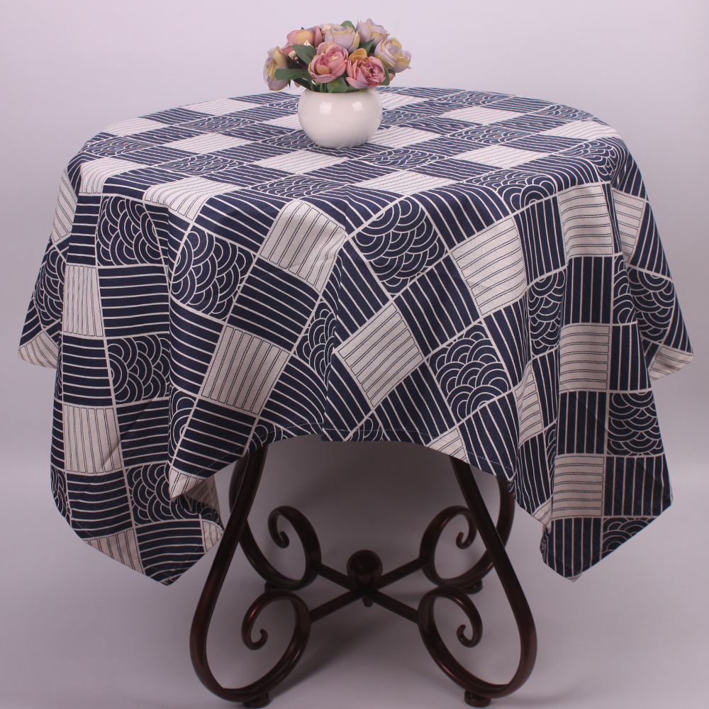 Chic Blue Beige Cotton Linen Plaid Curtains For Boys Bedroom: CURCYA Japanese Style Tablecloth Dark Blue Fish Scale