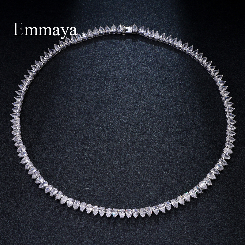 Emmaya Brand Fashion Hot Luxury Inlay AAA Cubic Zircon Charm Geometric Jewelry Necklaces For Woman Elegance Wedding Party Gift