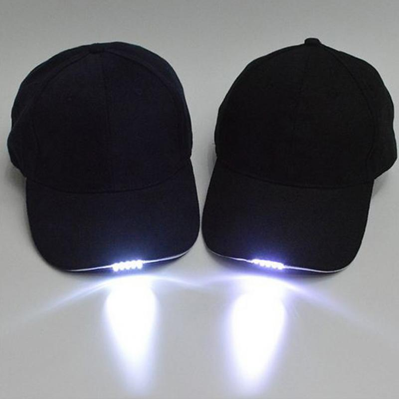 1Pcs LED Light Caps with Battery Glow in Dark Light Up Hats Caps Luminous Holiday Hat Unisex for Fishing Cycling Camping Caving
