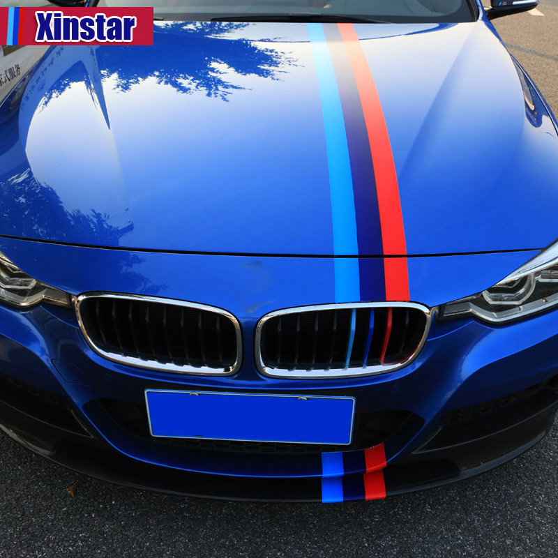 150cm KK M performance car bonnet stripe sticker for bmw E38 E39 E46 E53 E60 E61 E64 E70 E71 E85 E87 E90 E83 F10 F30 F20 F35 GT executive car